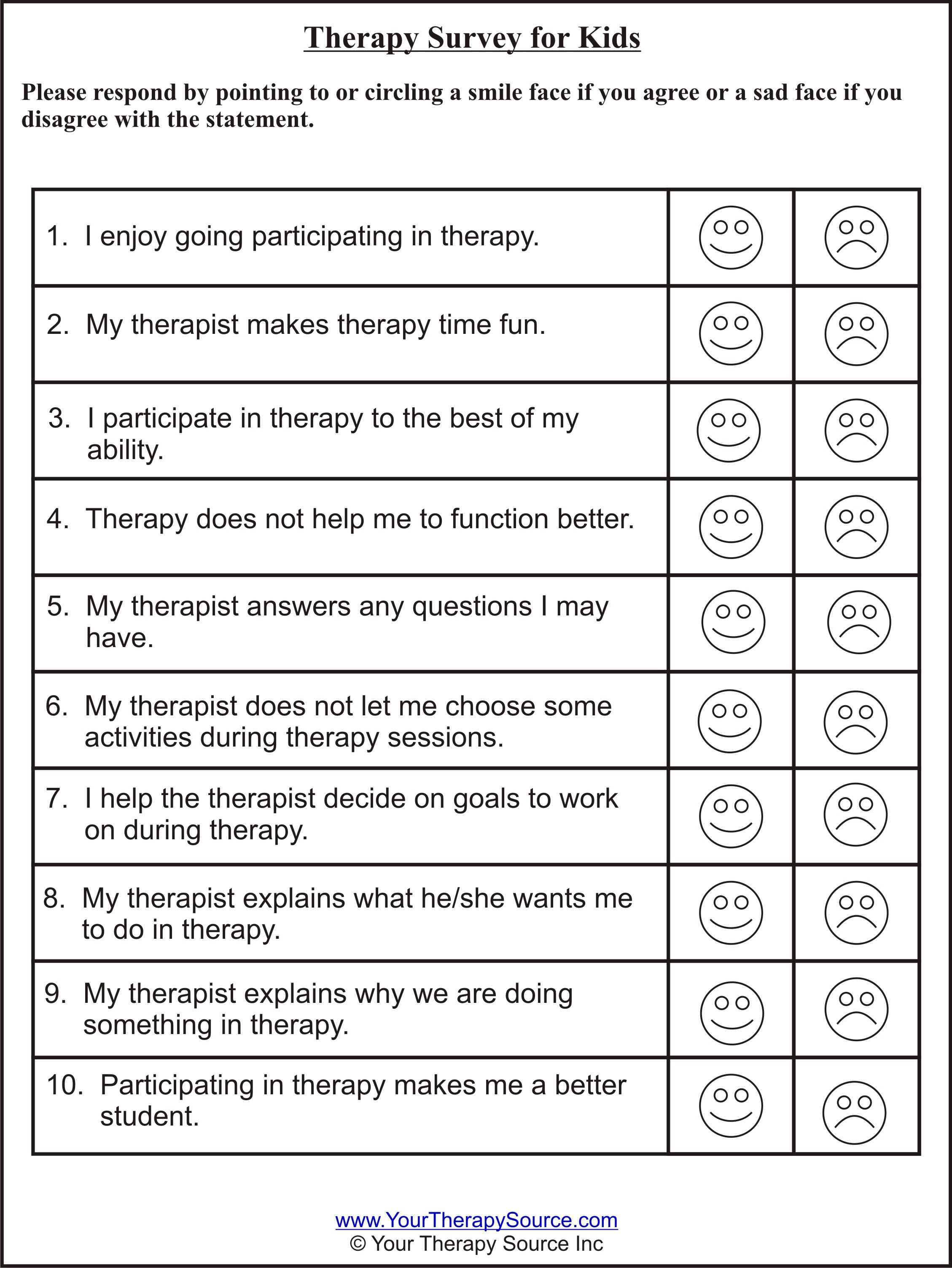 Therapy Survey For Kids