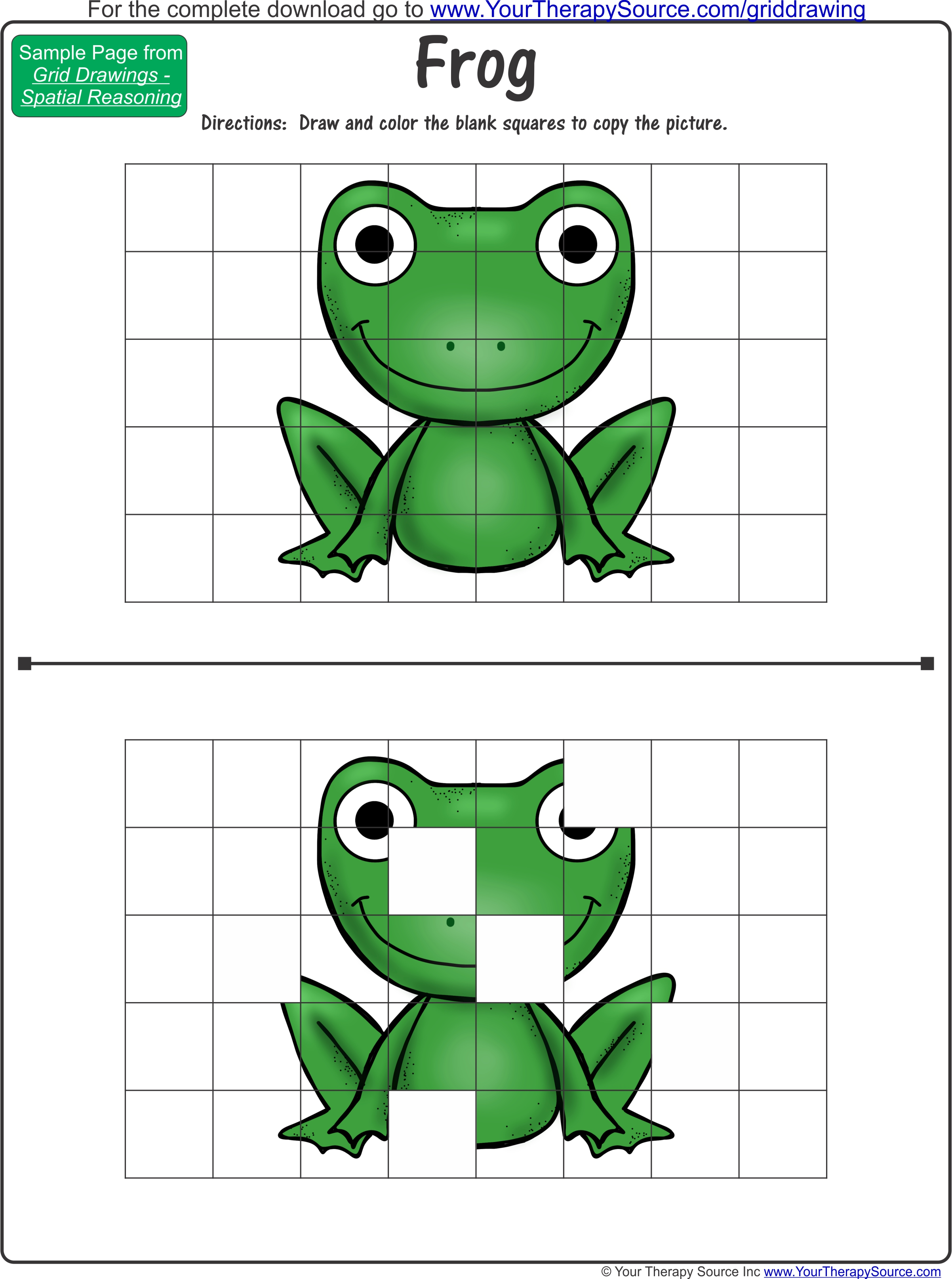 Grid Drawing Color Frog
