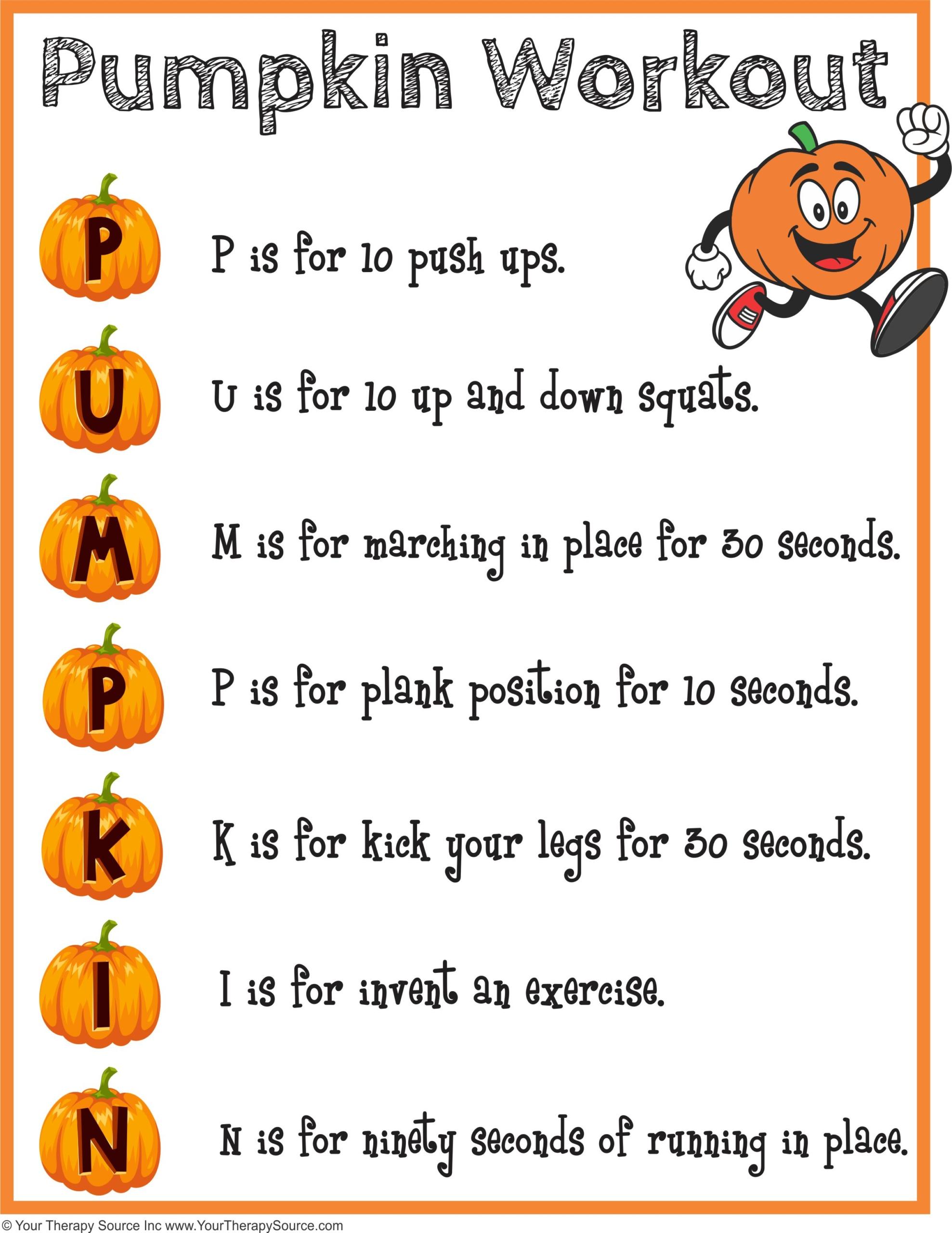 Pumpkin Workout And Brain Break