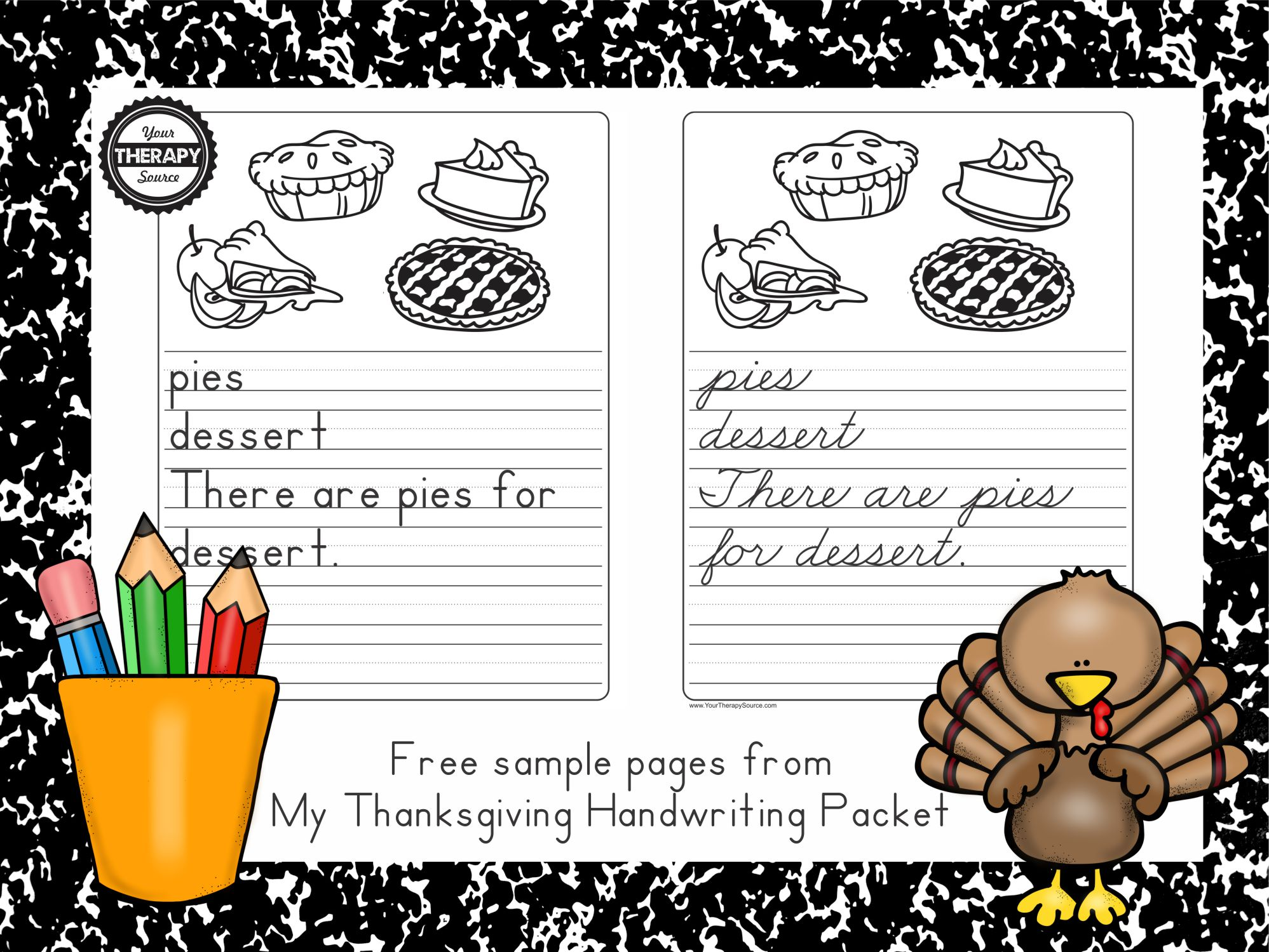 My Thanksgiving Handwriting Packet Freebie Pages