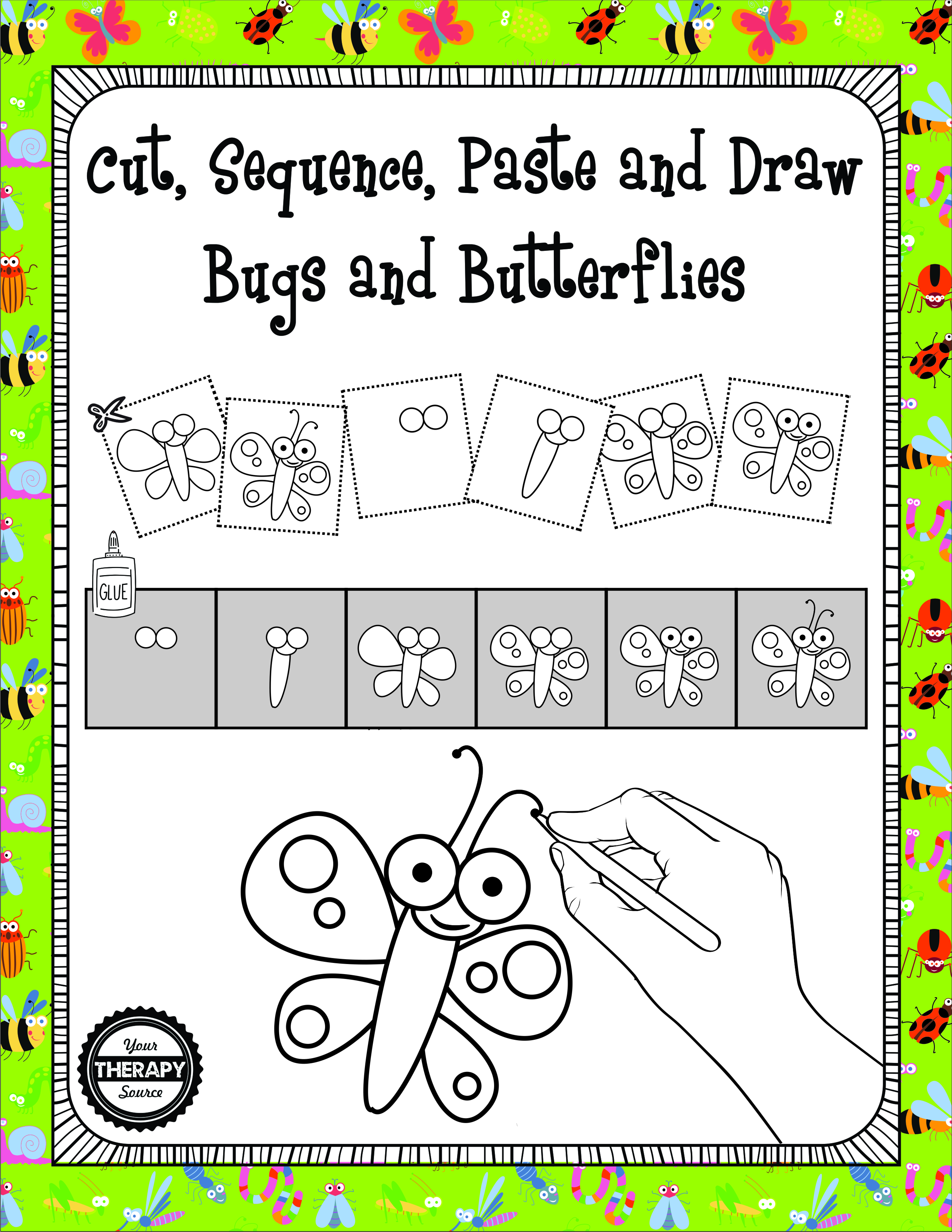Cut Sequence Paste And Draw Bugs And Butterflies