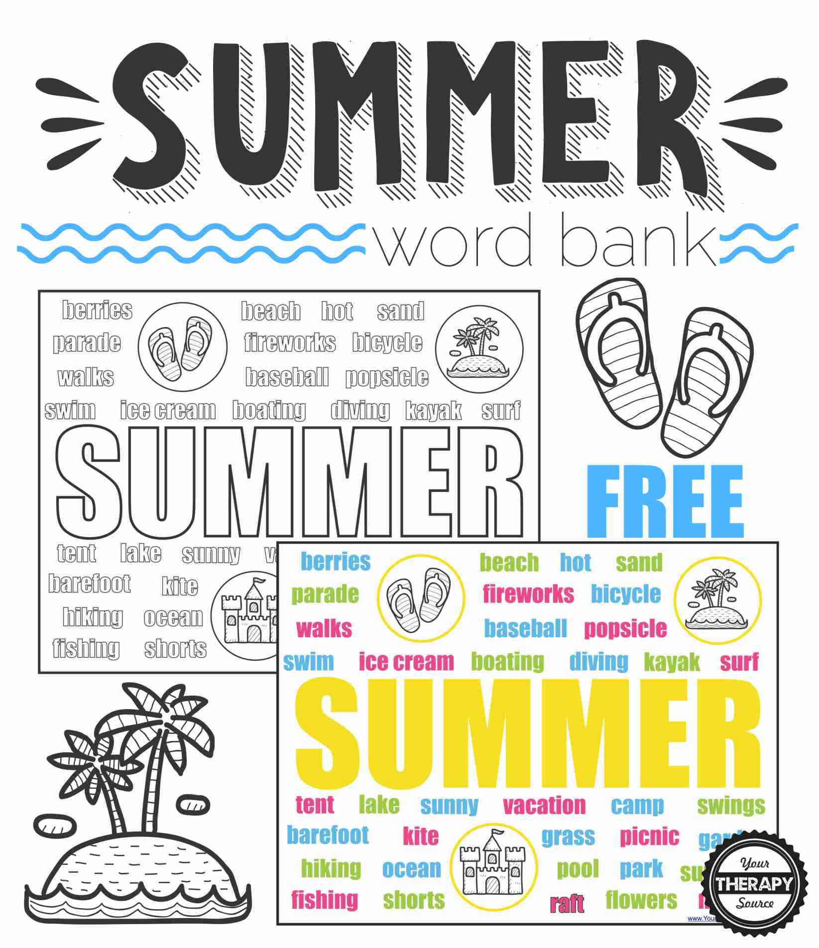 Summer Word Bank Collage