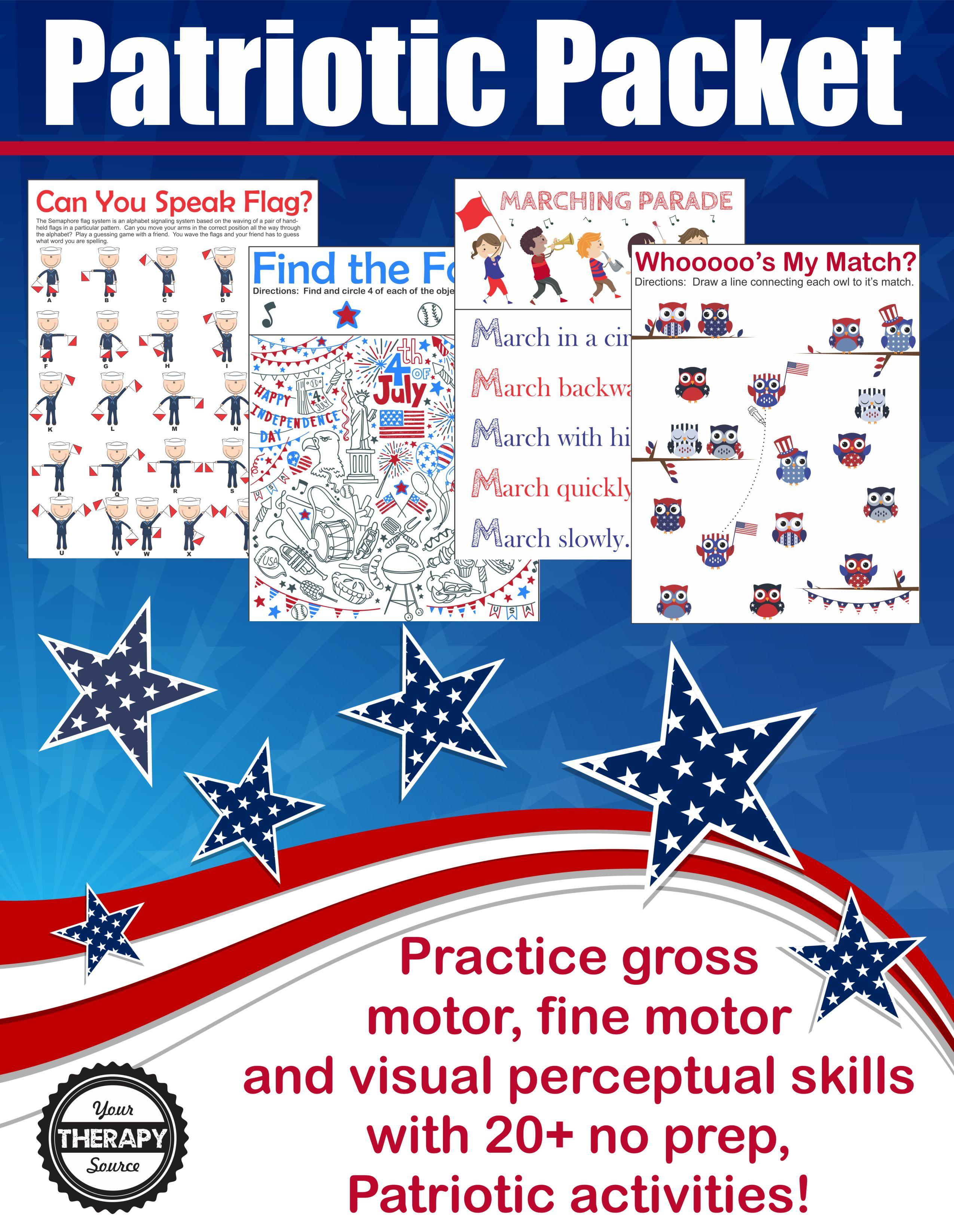 Patriotic Sensory Motor Packet