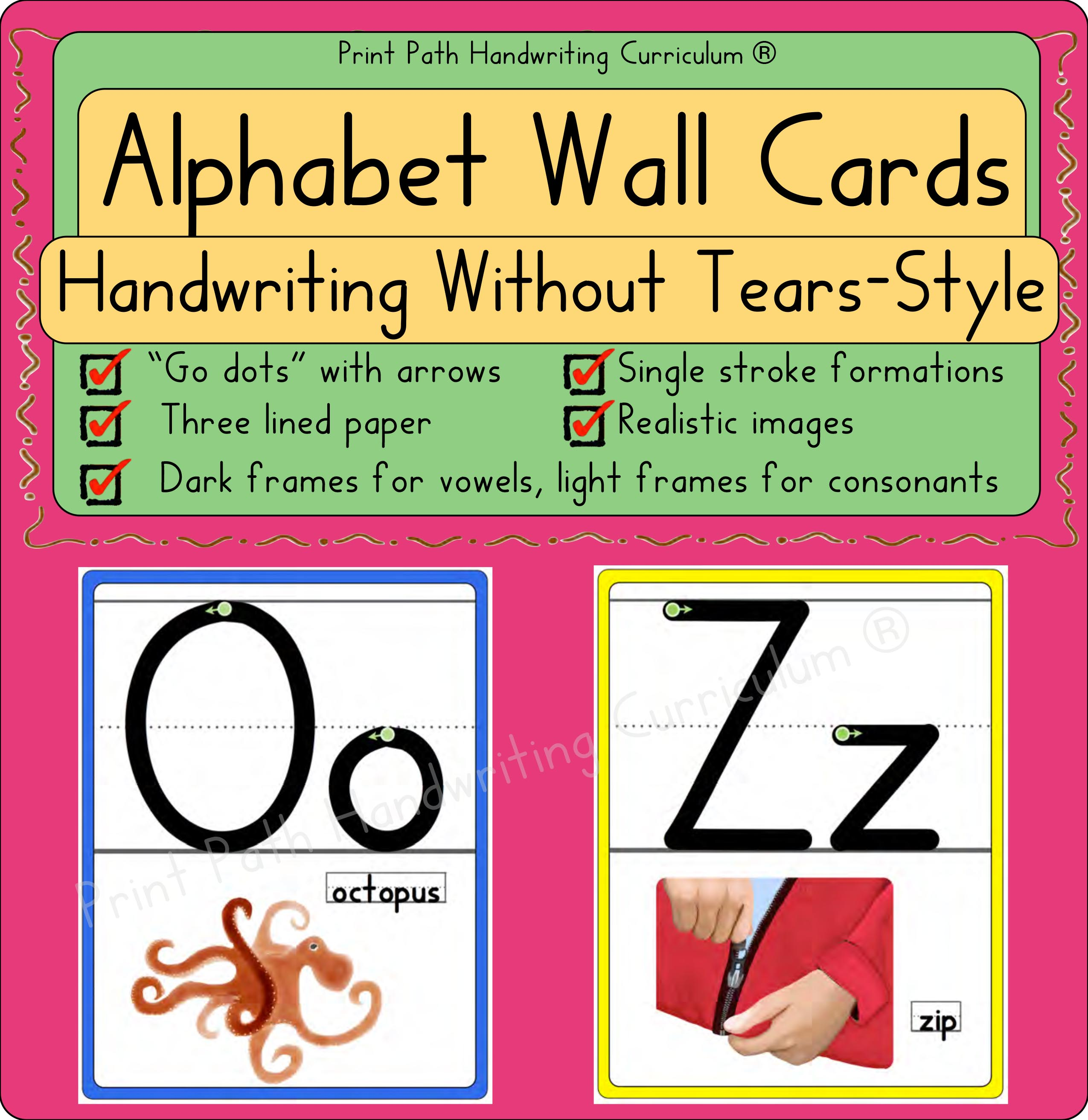 Alphabet Wall Cards Handwriting Without Tears Style Font