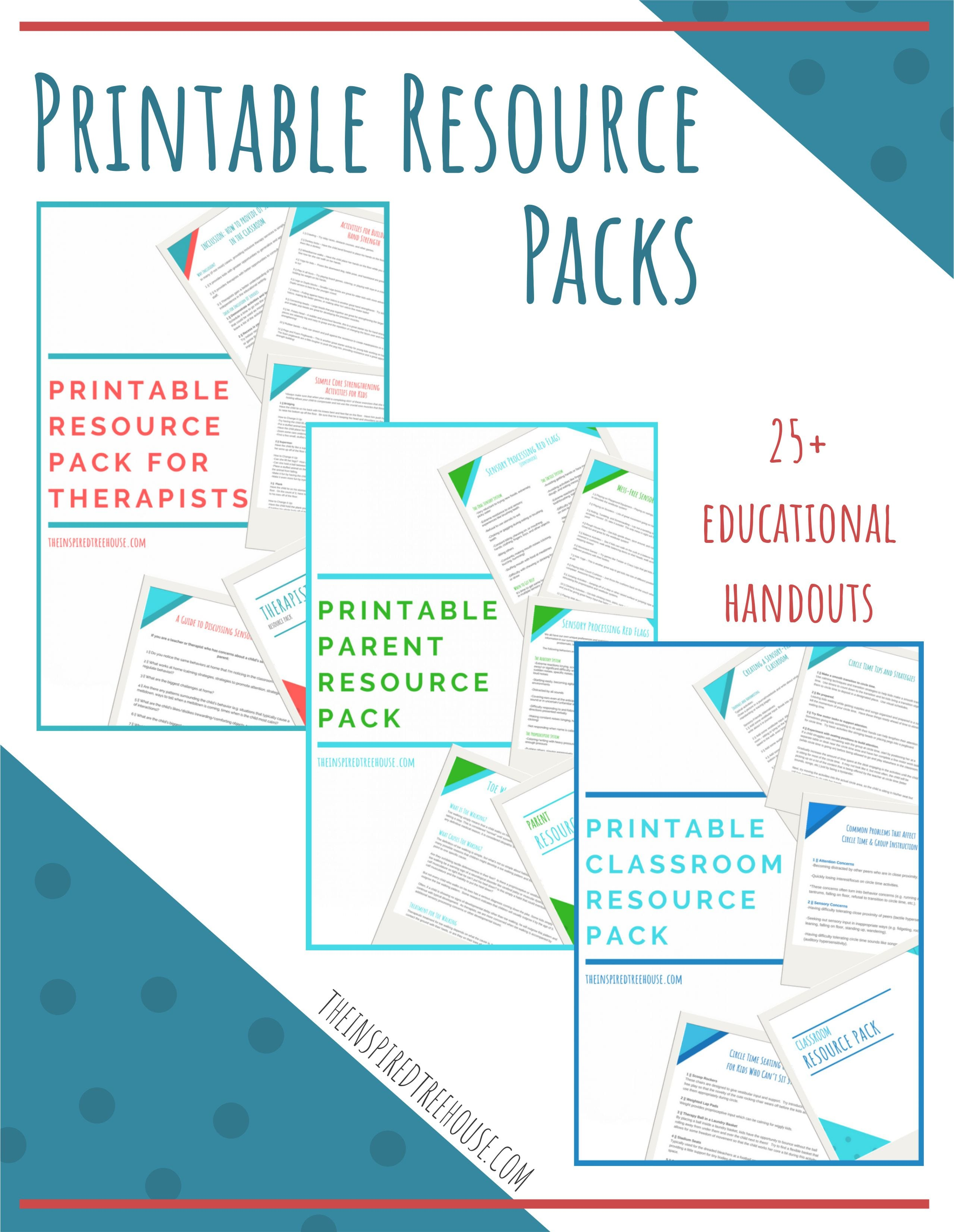 Handouts For Pediatric Therapists Parents And Teachers