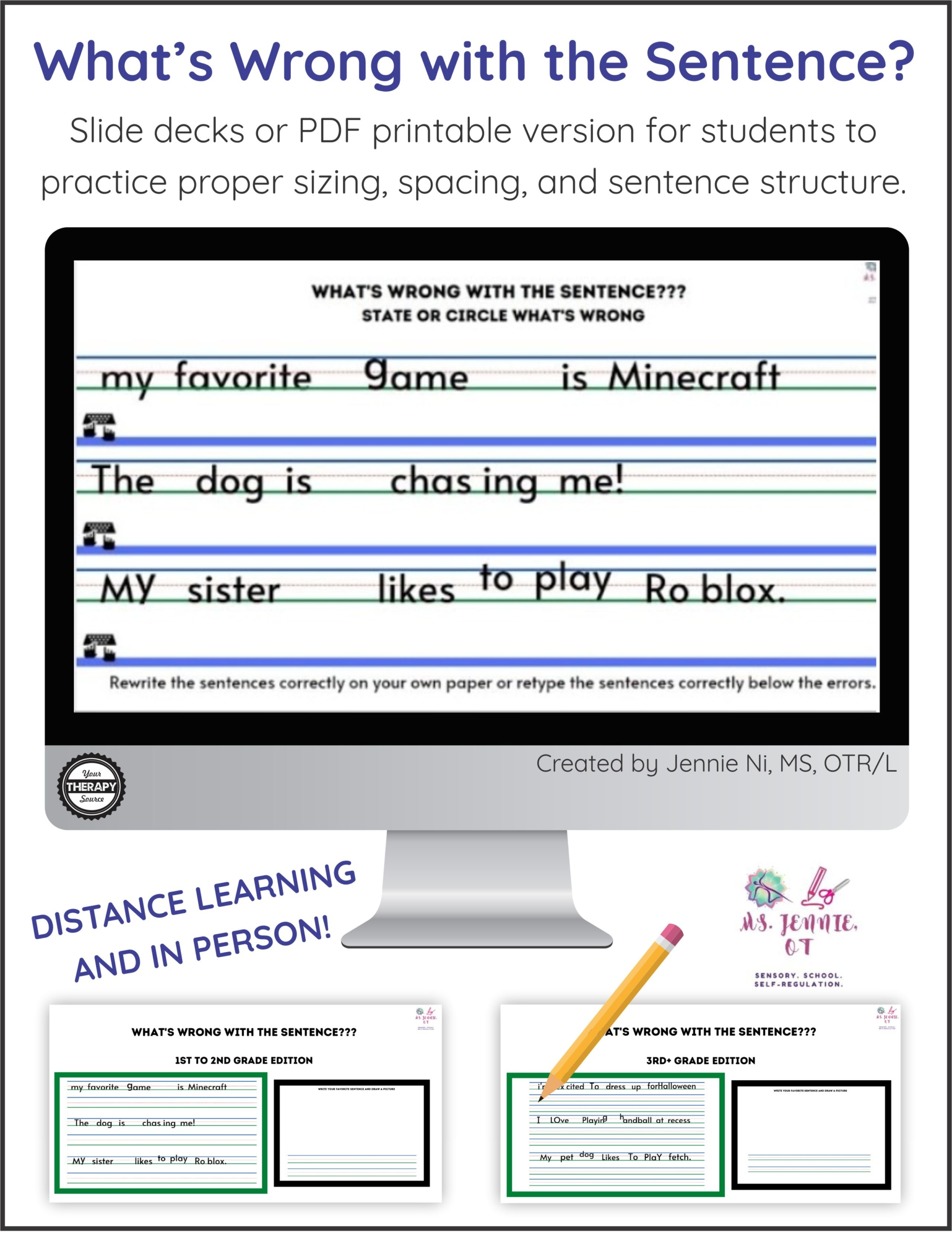 Sentence Correction Worksheets And Slide Deck