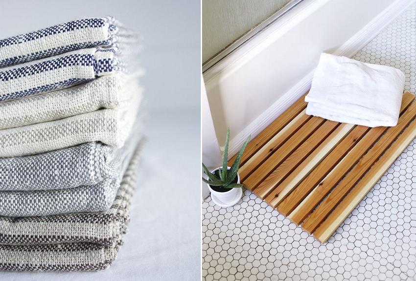 bath mat towel bathroom hack