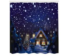 ABAKUHAUS Natale Tenda da Doccia, Winter Night House, Facile da Pulire, 175 x 200 cm, Blu Navy Giallo