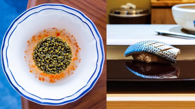 The exquisite creation at Blue by Alain Ducasse and Japanese delicacy crafted by Chef Masato Shimizu of Sushi Masato, an omakase sushi bar housed on a quiet lane in Bangkok. (© Blue by Alain Ducasse, Sushi Masato)