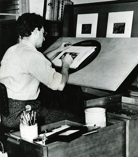 A Disney artist working on Fantasia (1940) at a Kem Weber designed Background Desk. Photo by Baskerville, © UCSB.