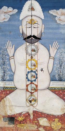 Jogín se sedmi čakerami, Indie, konec 18 století. Čakry mají jiné barvy než duhové barvy použité v New Age.