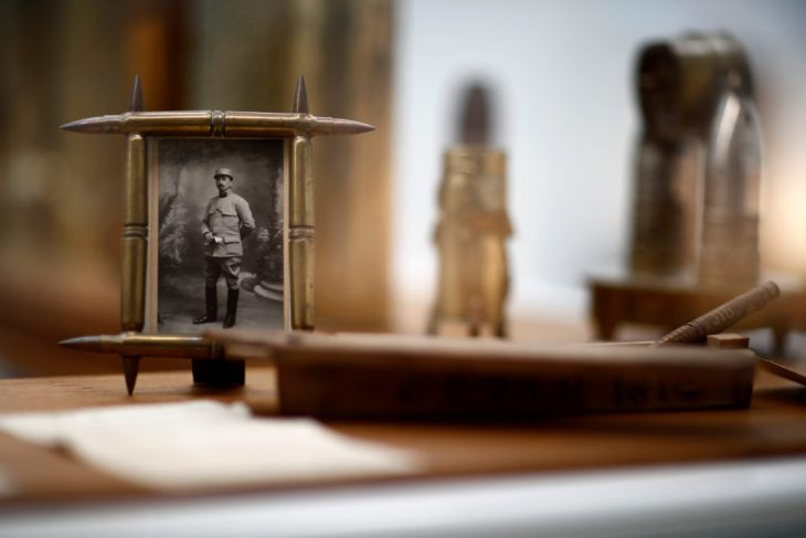 A portrait of a soldier is displayed at the Armistice Museum in the Clairiere de Rethondes in Compiegne where the Germans signed the armistice in 1918 that ended the World War One, France, August 30, 2018. Picture taken August 30, 2018.  Photo by Christian Hartmann/Reuters