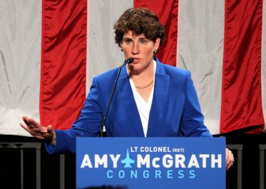 Democratic congressional candidate Amy McGrath thanks all her supporters after appearing at her election night party in Richmond, Kentucky, on November 6, 2018. Photo by John Sommers II/Reuters