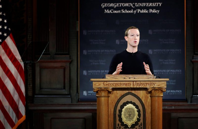 Facebook CEO promotes free speech, but takes no questions from reporters