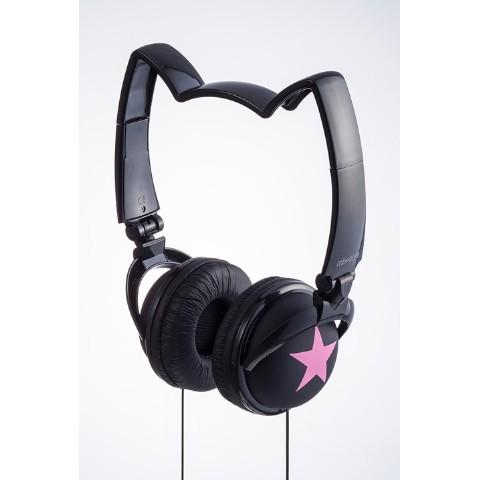 【mix style】ネコミミヘッドフォン スター(ブラック/ピンク)