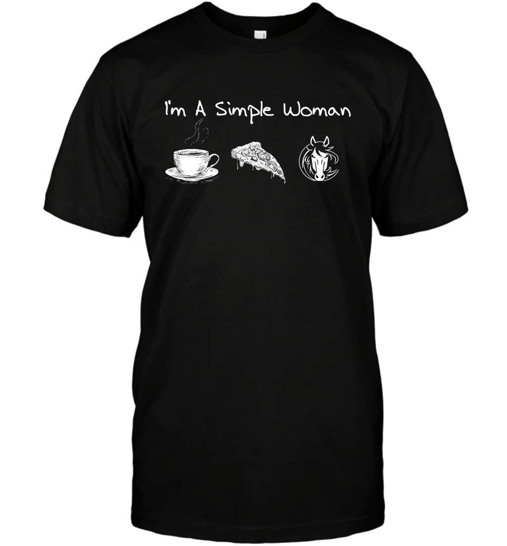 I'm A Simple Woman Tea Pizza and Horse Riding T-Shirt