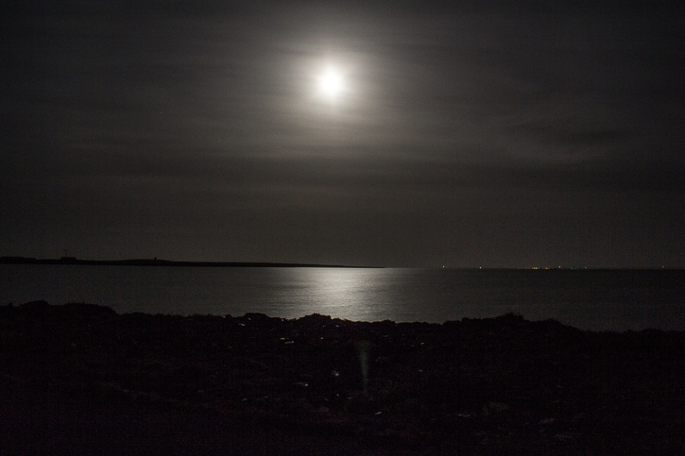 Moon on Kettletoft Bay