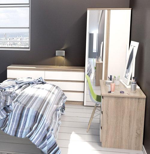 avenue truffle oak and white gloss bedroom furniture 99 1099