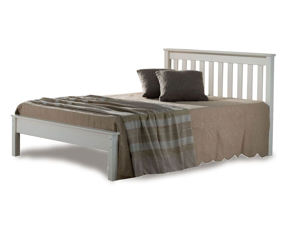 denmark low foot double white bed frame