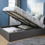End Lift Ottoman Storage Silver Grey Single Bed Frame