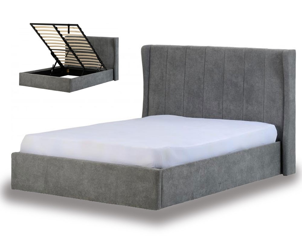 dark grey double hotel ottoman storage bed frame