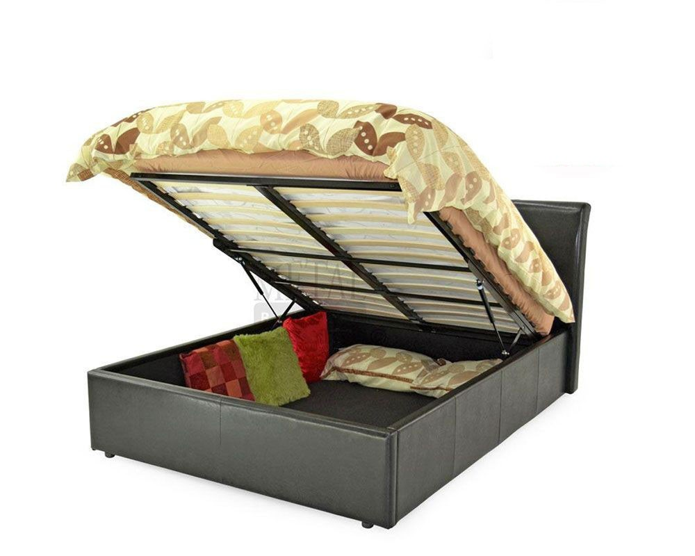 texan black or brown ottoman storage double bed frame