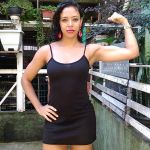 Lidia beauty bends metal bars
