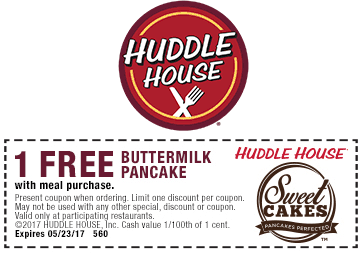 Huddle House Coupon May 2017 Free pancake with your meal at Huddle House