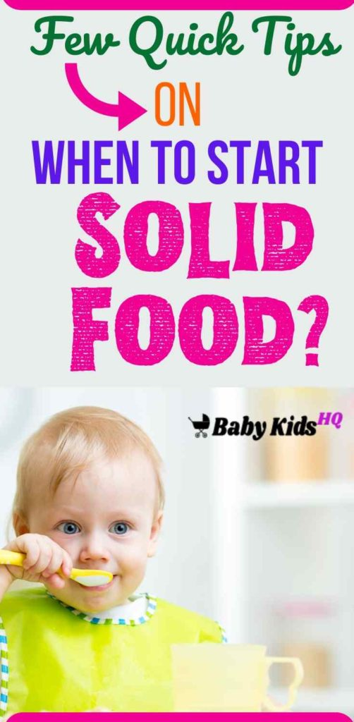 """The baby may be ready to get his """"teeth"""" into solids as early as four months. Other babies are happy with milk until a bit later. If your baby shows no interest in solid food but is still happy and putting on weight, that's fine. Offering solid foods early is a good way to introduce babies to different tastes and textures and add some interest to mealtimes. #newmom #babysolidfood #solidfood #newmomtips"""