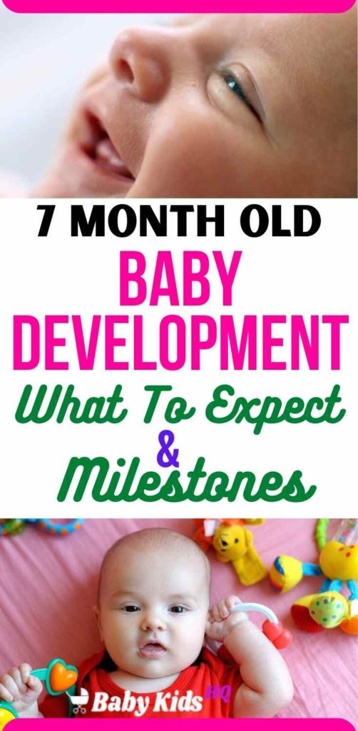 7 Month Old Baby Development:- Your baby's fine motor skills are coming along, too. By now he can probably scoop things up with just one little paw and transfer them from one hand to the other fairly easily. Though teething can start as early as 3 months or as late as 12 months, most babies sprout their first white caps right about now.