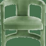 Brabbu Mainstream Rukay Curved Armchair In Light Green Velvet With Brass Base Moodmaestro