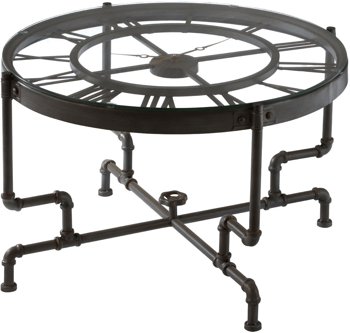 lagoon collections cisely clock style coffee table with black glass top and iron frame