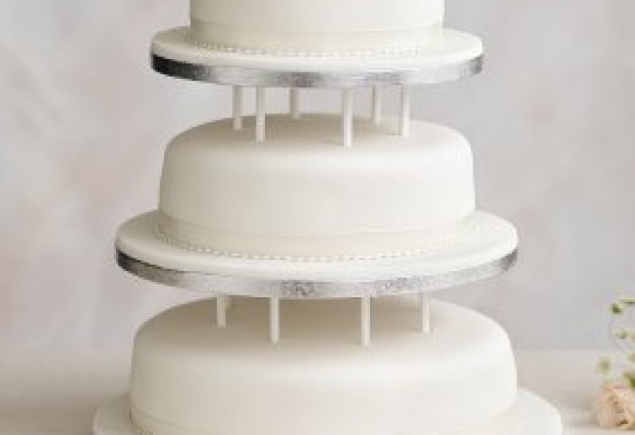 Soft Iced 3 Tier White Wedding Cake With Dowling Fruit All Tiers