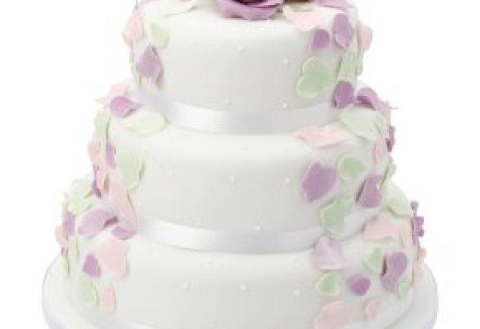 Fiona Cairns Pastel Rose Petal 3 Tier Wedding Cake Fruit