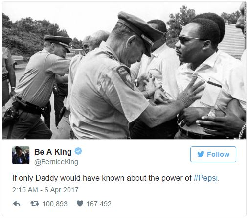 Image result for mlk daughter tweet on pepsi