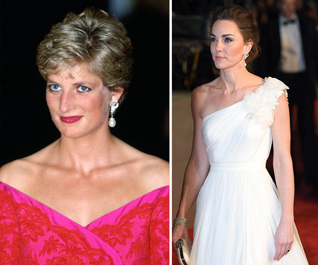 Diana in the dazzling accessories during an event at the Royal Albert Hall in 1991 and decades later, Duchess Catherine wears the same jewels in the same location. (Both images: Getty)