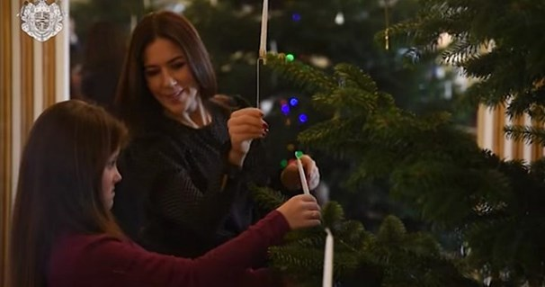 The Danish royals were captured decorating their Christmas tree in a beautiful family video in 2017.