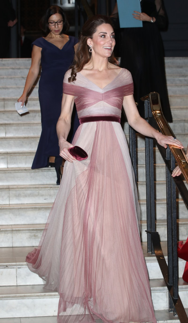 The Duchess of Cambridge dazzled in a gorgeous pink Gucci gown. (Image: Getty)