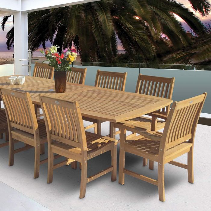royal teak collection p19 11 piece teak patio dining set with 96 120x44 inch rectangular expansion table compass chairs