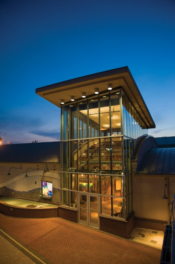Outside the center, the Yadkin Arts Council added a modern-looking glass tower to act as a beacon.