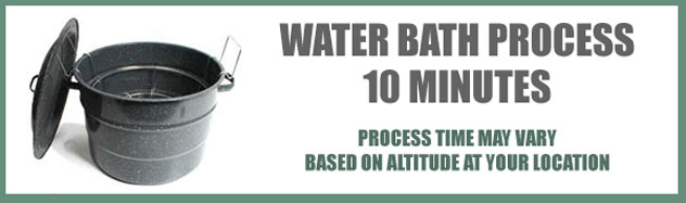 The strawberry syrup needs to undergo a 10 minute water bath. The time starts once the water has come back up to a rolling boil and you've placed the lid on the canning point. Actual processing time for the water bath will vary depending on the Altitude of your location, see the chart below.