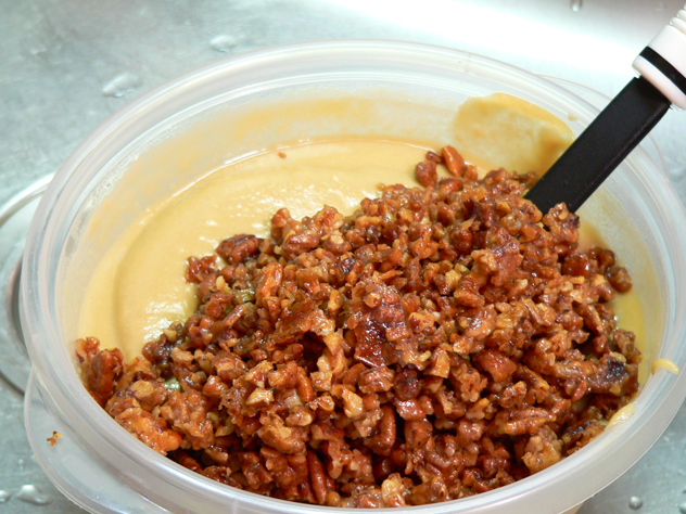 Add the toasted pecans into the custard.