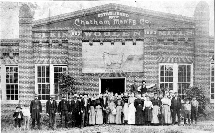 Workers stand outside of the second Chatham Manufacturing plant, built in 1893.