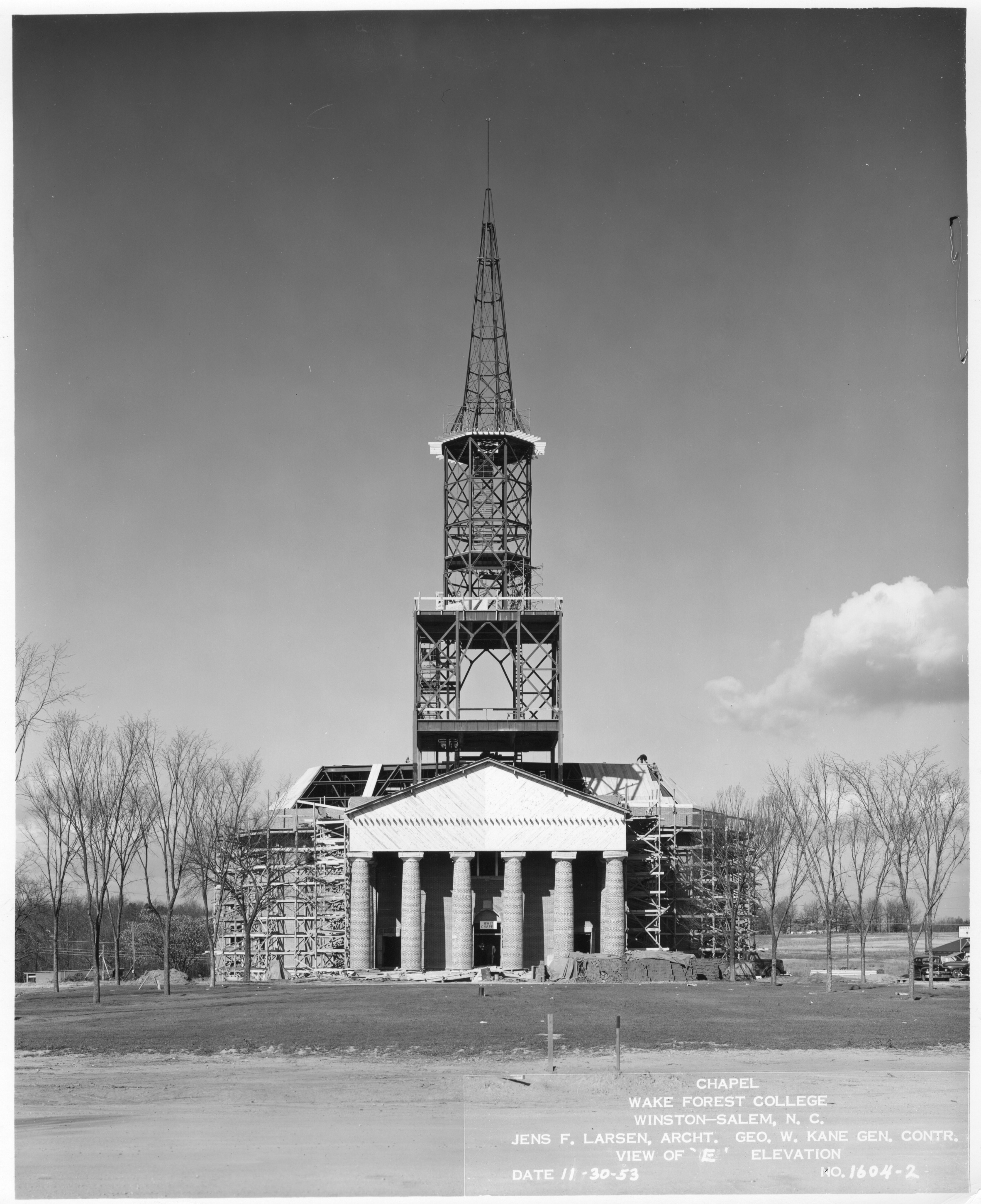 Wake Forest University chapel under construction in 1953