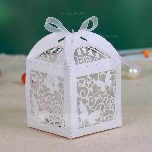 Butterfly Laser Cut Cuboid Favor Boxes With Ribbons Set Of 12 050026815 Jjshouse