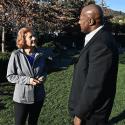 Debra Stutsman speaks with Brian Colbert at Imagination Park in San Anselmo