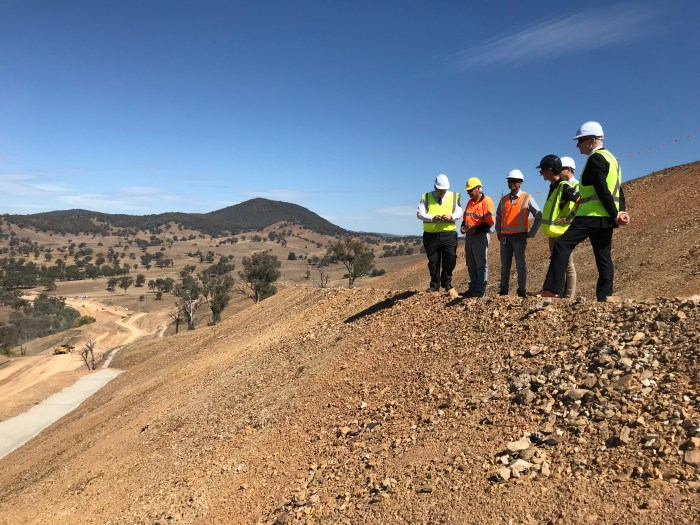 Brett Martin, RMS Director of Projects South West, Steph Cooke MP, Member for Cootamundra, and Roy Wakelin-King, Executive Director NSW Roads & Maritime Services Regional & Freight Division, discuss the implications of the Gocup Road upgrades.