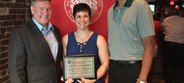 Jen Miller-McEachern, the Executive Director of the NCGA, was presented with the Excellence in Sports Leadership Award from Northeastern University last month.