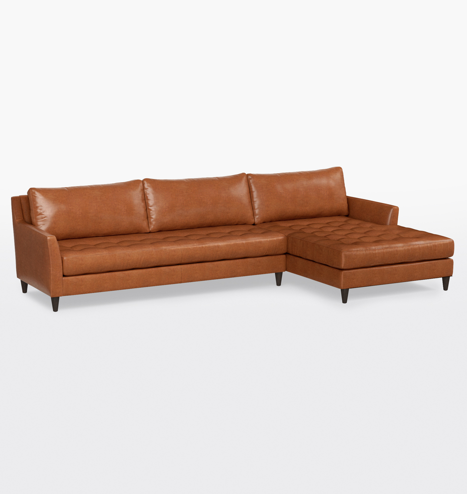 hastings sectional leather sofa right chaise