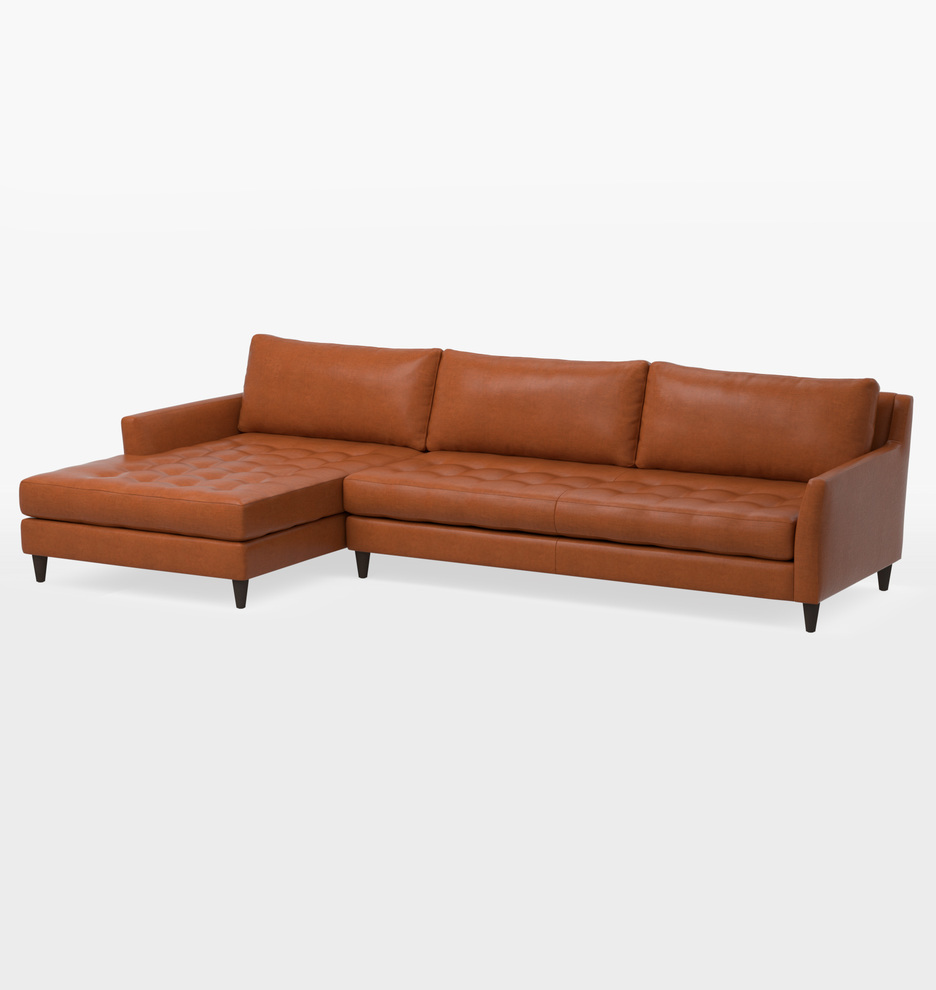 hastings deep sectional leather sofa left chaise